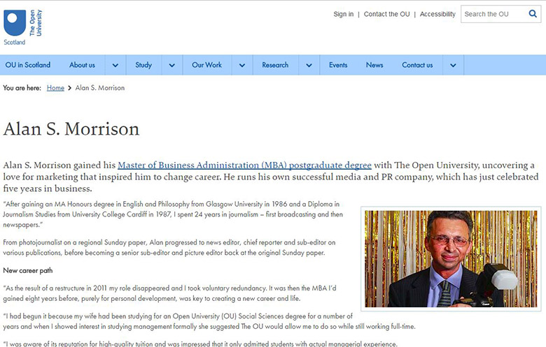 News – I'm a poster boy for The Open University Business School MBA!