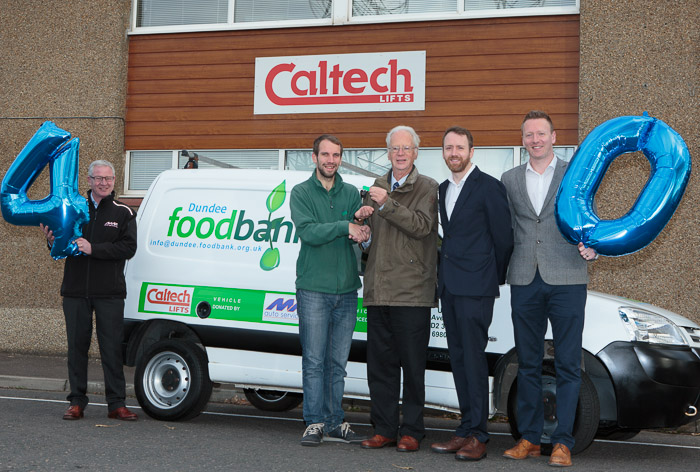Client news – Caltech Lifts turns 40 but foodbank gets gift – a vital new van